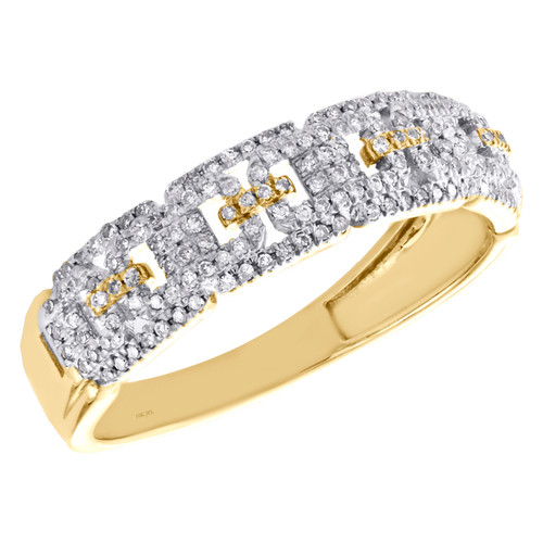 10K Yellow Gold Round Diamond Anchor Link Wedding Band 6mm Mens Pave Ring 1/3 CT