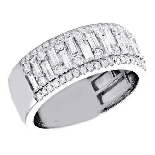 14K White Gold Round & Baguette Diamond Staggered Wedding Band 9mm Ring 1.25 CT.