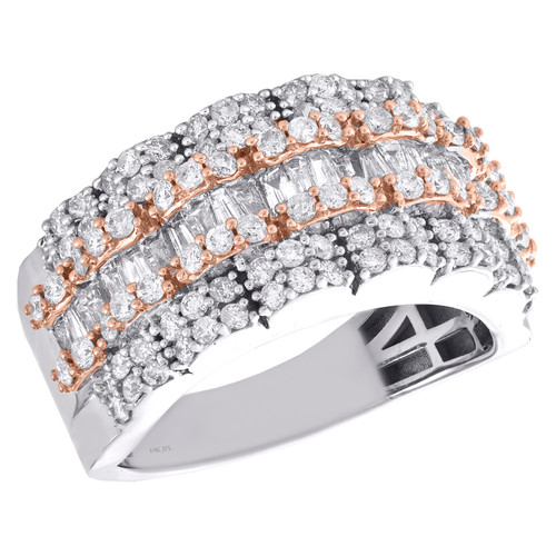 10K White & Rose Gold Round & Baguette Diamond Wedding Band 14mm Ring 2.35 CT.