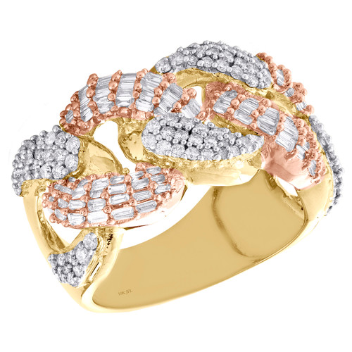 10K Yellow & Rose Gold Baguette Diamond Miami Cuban Link 14mm Pinky Ring 1.75 CT