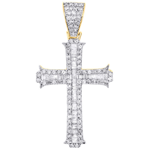 "10K Yellow Gold Round & Baguette Diamond Cross Pendant 1.75"" Fancy Charm 1.30 CT"