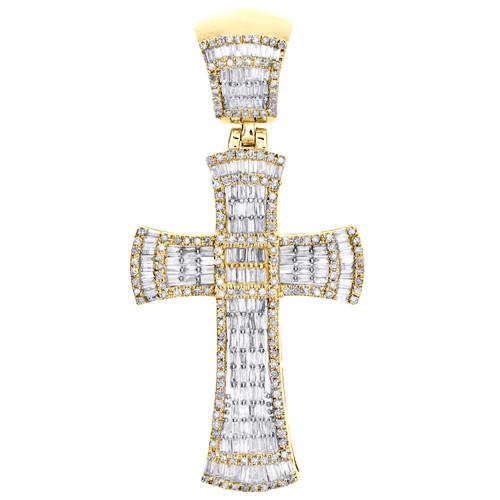 "10K Yellow Gold Round & Baguette Diamond Fancy Cross Pendant 1.85"" Charm 1.27 CT"