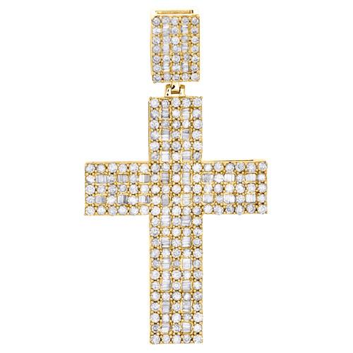 "10K Yellow Gold Round & Baguette Diamond Wide Cross Pendant 2.15"" Charm 3.05 CT."