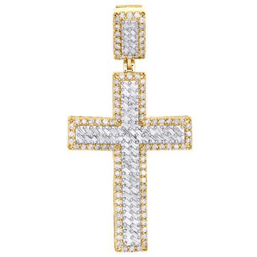 "10K Yellow Gold Baguette Diamond Statement Cross Pendant 2.10"" Charm 1.57 CT."