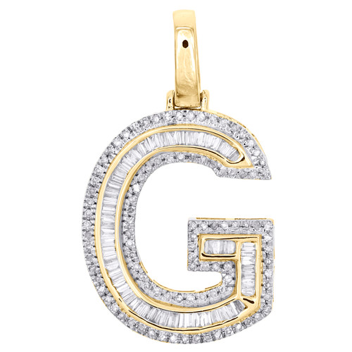 "10K Yellow Gold Baguette Diamond Letter G Pendant 1.20"" Initial Charm 0.53 CT."