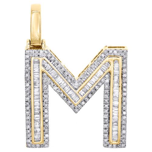 "10K Yellow Gold Baguette Diamond Letter M Pendant 1.20"" Initial Charm 3/4 CT."