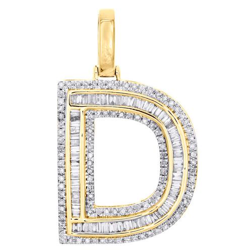 """10K Yellow Gold Baguette Diamond Letter D Pendant 1.20"""" Initial Charm 0.60 CT."""