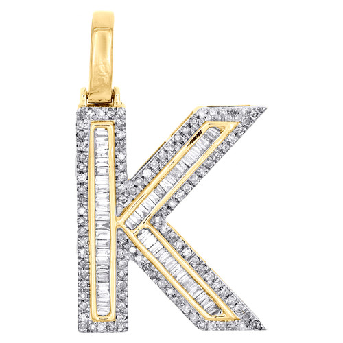 "10K Yellow Gold Baguette Diamond Letter K Pendant 1.20"" Initial Charm 0.58 CT."
