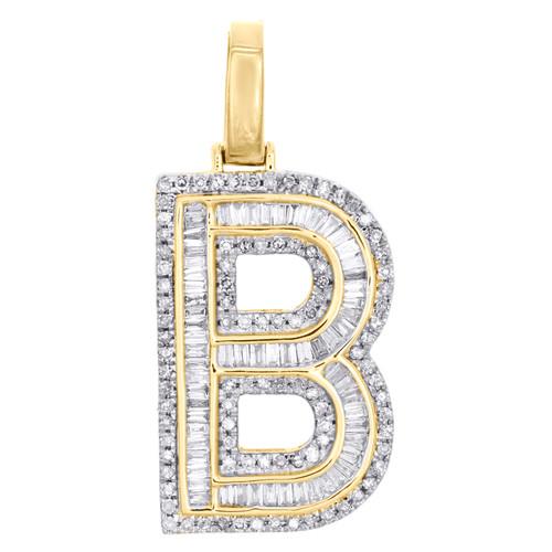 "10K Yellow Gold Baguette Diamond Letter B Pendant 1.20"" Initial Charm 0.65 CT."