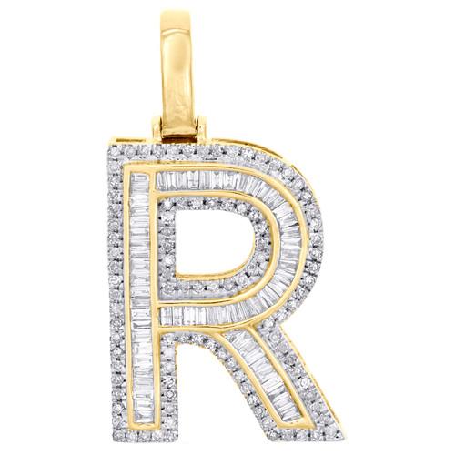"10K Yellow Gold Baguette Diamond Letter R Pendant 1.20"" Initial Charm 0.65 CT."