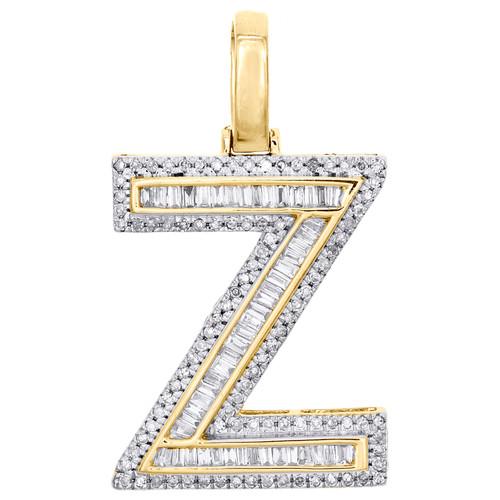 "10K Yellow Gold Baguette Diamond Letter Z Pendant 1.20"" Initial Charm 0.56 CT."