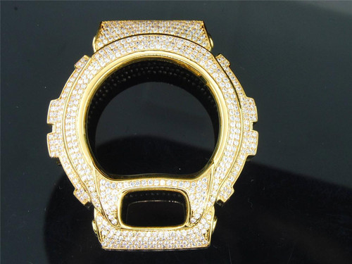 Custom Mens G-Shock/Gshock Simulated White Diamond Yellow Metal Bezel 6900