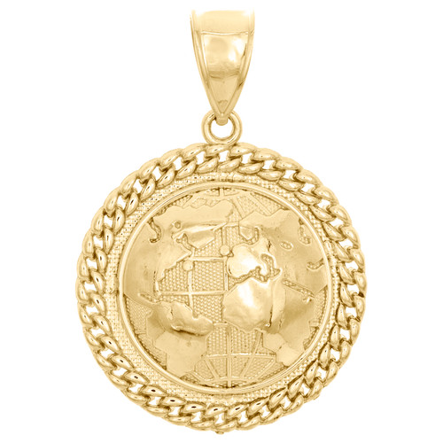 "10K Yellow Gold World Map Globe Diamond Cut Pendant 1.70"" Miami Cuban Link Charm"