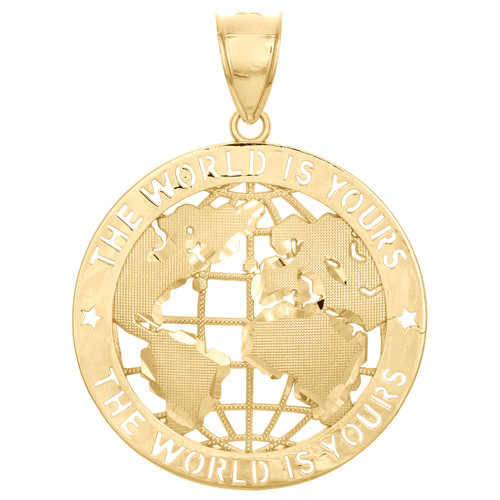 "10K Yellow Gold World Map Globe The World Is Yours Pendant 1.80"" Statement Charm"
