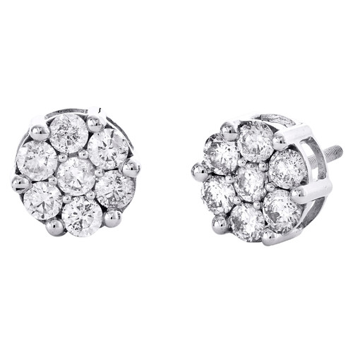 10K White Gold Round Diamond Flower Stud 9mm Prong Set Cluster Earrings 1.50 CT.