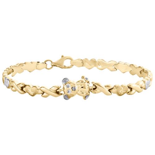 "10K Yellow Gold Statement Teddy Bear Heart Hugs & Kisses Stampato Bracelet 7.25"""
