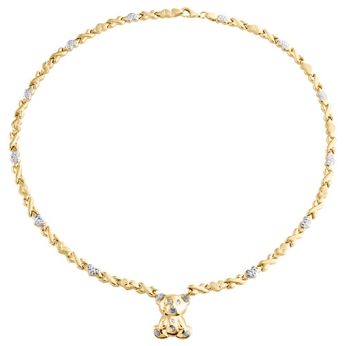 10K Yellow Gold Two Tone Teddy Bear XOXO Stampato Statement Set Necklace 18""