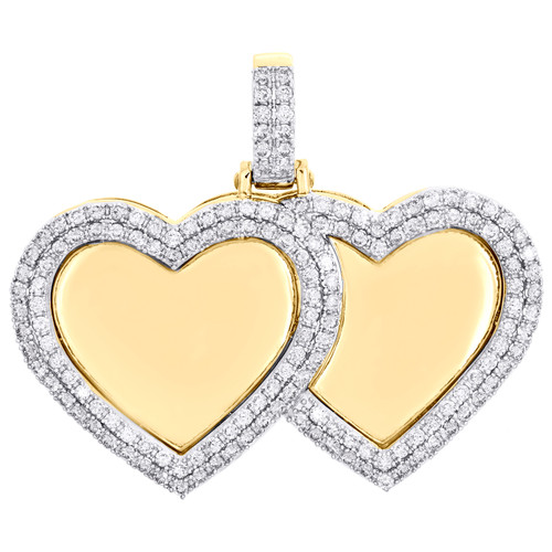 "10K Yellow Gold Diamond Double Heart Memory Picture Frame 1.40"" Pendant 1.75 CT."