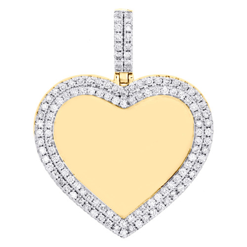 "10K Yellow Gold Diamond Memory Picture Heart Frame Pendant 1.70"" Pave Charm 2 CT"