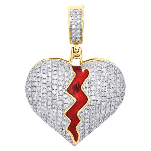 "10K Yellow Gold Round Diamond Broken Split Heart Pendant 1.20"" Pave Charm 3/4 CT"