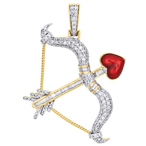 "10K Yellow Gold Baguette Diamond Bow & Arrow Heart Pendant 1.75"" Pave Charm 1 CT"
