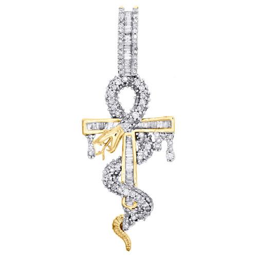 "10K Yellow Gold Baguette Diamond Snake Ankh Cross Pendant 1.85"" Charm 1.20 CT."