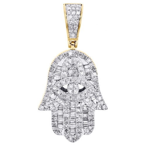 "14K Yellow Gold Baguette Diamond Fancy Hamsa Hand Pendant 1.20"" Charm 1/2 CT."