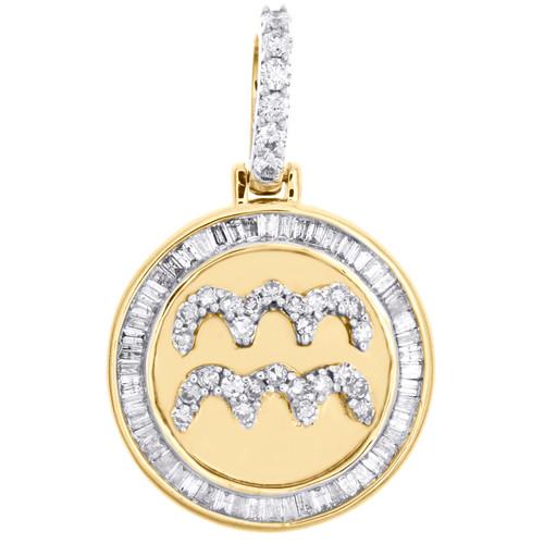 "10K Yellow Gold Baguette Diamond Aquarius Astrology Sign Pendant 1"" Charm 5/8 CT"