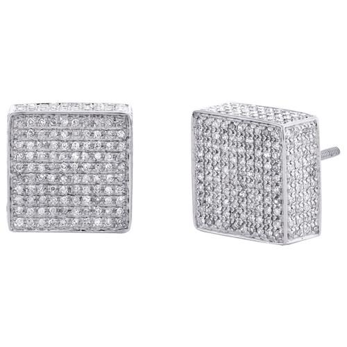 10K White Gold Round Diamond 3D Cube Square Block Stud 13mm Pave Earrings 2 CT.