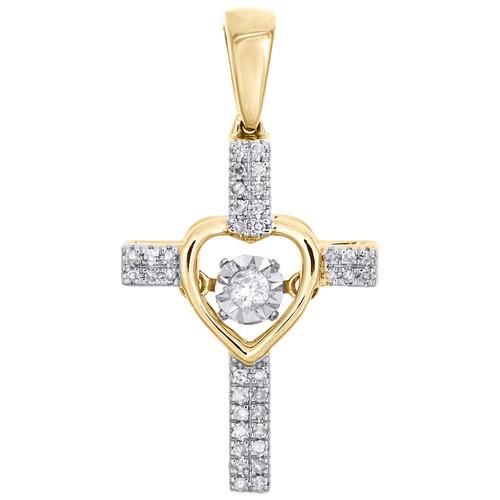 "10K Yellow Gold Round Dancing Diamond Heart & Cross Pendant 1"" Pave Charm 1/7 CT"