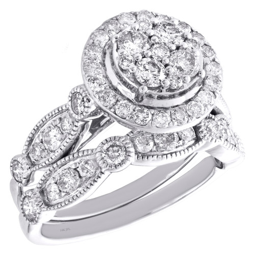 14k White Gold Diamond Halo Tiered Engagement + Wedding Ring Bridal Set 1.50 CT.