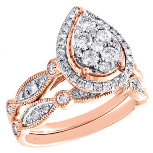 14k Rose Gold Diamond Halo Teardrop Engagement + Wedding Ring Bridal Set 1 CT.