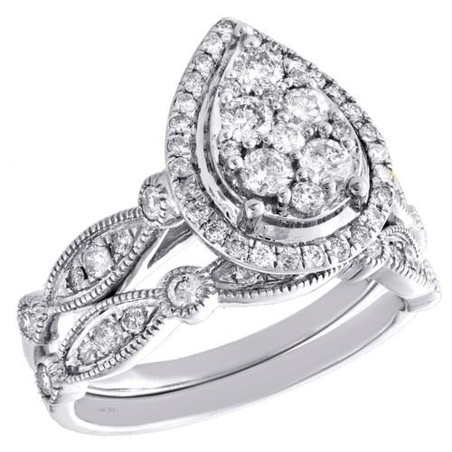 14k White Gold Diamond Halo Teardrop Engagement + Wedding Ring Bridal Set 1 CT.