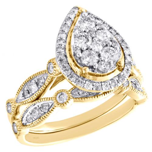 14k Yellow Gold Diamond Halo Teardrop Engagement + Wedding Ring Bridal Set 1 CT.