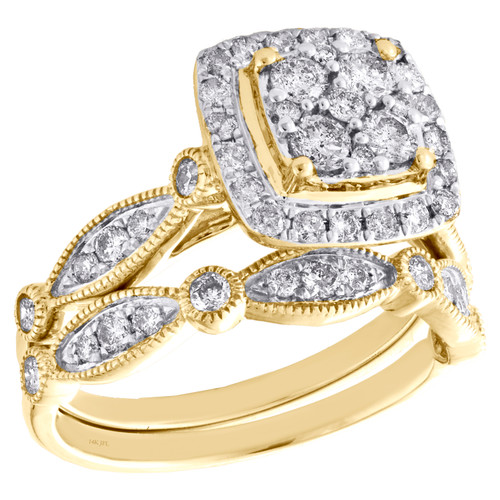 14k Yellow Gold Diamond Halo Square Engagement + Wedding Ring Bridal Set 1 CT.