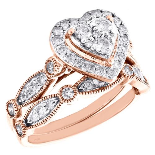 14k Rose Gold Diamond Halo Heart Engagement Ring + Wedding Band Bridal Set 1 CT.