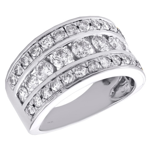 14k White Gold Channel Set Diamond Wedding Band 3 Row Anniversary Ring 2 CT.