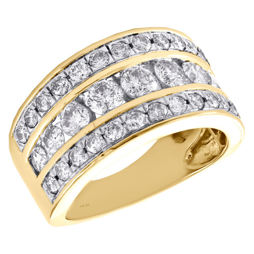 14k Yellow Gold Channel Set Diamond Wedding Band 3 Row Anniversary Ring 2 CT.