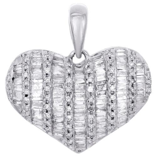"""10K White Gold Round & Baguette Diamond Domed Heart 0.70"""" Pendant Charm 1/2 CT."""
