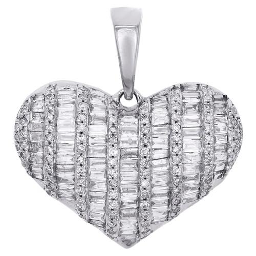 """10K White Gold Round & Baguette Diamond Domed Heart 0.95"""" Pendant Charm 1 CT."""