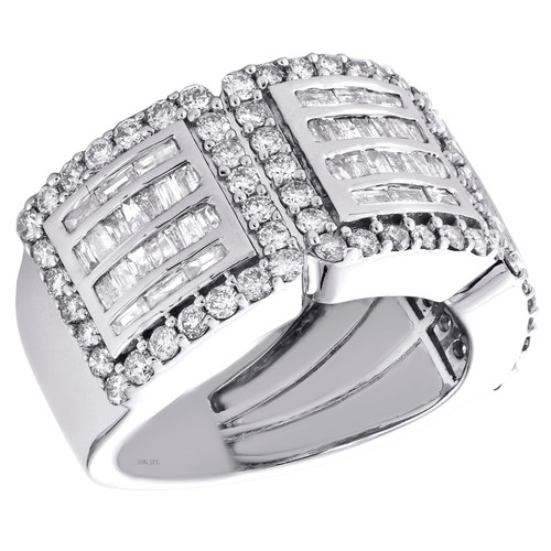14k White Gold Baguette Diamond Wedding Band Square Halo Anniversary Ring 2 CT.