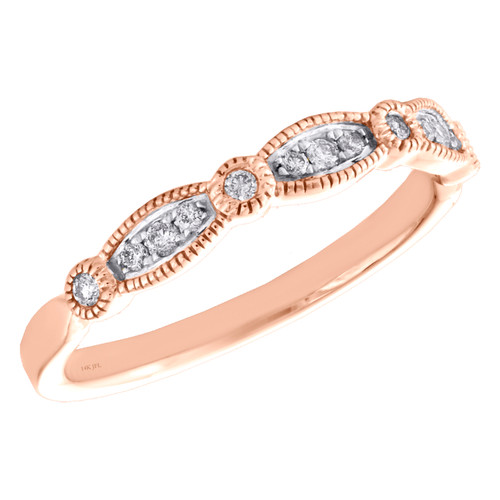 14k Rose Gold Diamond Wedding Band Stackable Milgrain Anniversary Ring 1/5 CT.