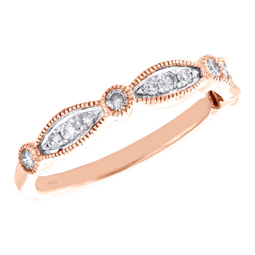 14k Rose Gold Diamond Wedding Band Stackable Milgrain Anniversary Ring 1/3 CT.