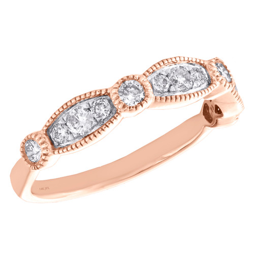 14k Rose Gold Diamond Wedding Band Stackable Milgrain Anniversary Ring 1/2 CT.