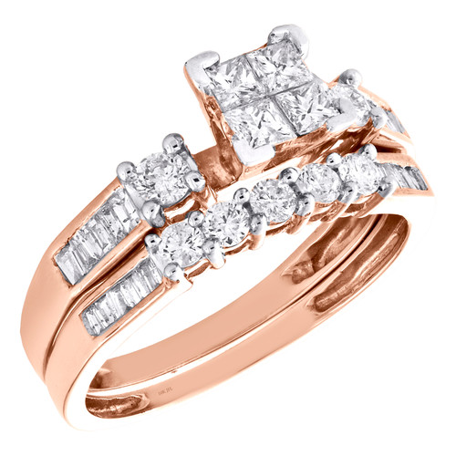 10k Rose Gold Quad Princess Diamond Engagement + Wedding Ring Bridal Set 0.87 Ct