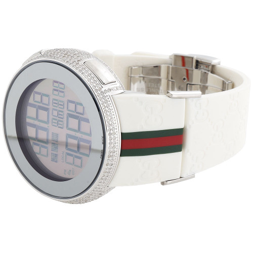 Brand New Mens Diamond Gucci Watch I Gucci Digital White  Band Ya114214 2.5 CT.