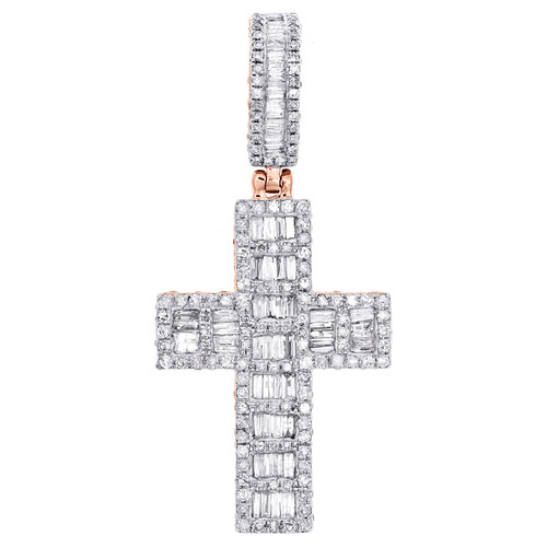 "10K Rose Gold Round & Baguette Diamond Cluster Cross Pendant 1.75"" Charm 1.63 CT"