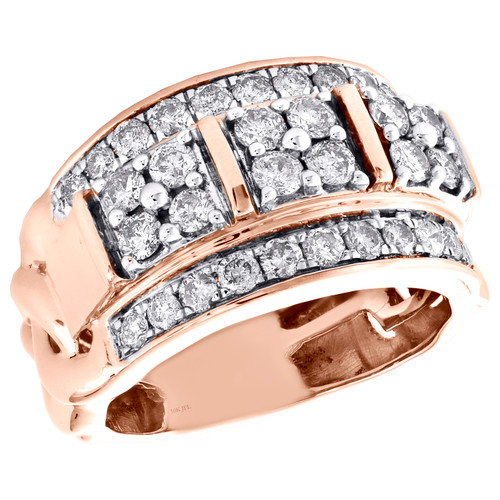 10K Rose Gold Round Diamond Cuban Link Statement Pinky Ring Wedding Band 2 CT.