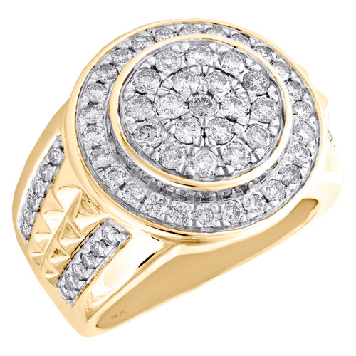 10K Yellow Gold Round Diamond Dome Tier Statement Band 20mm Mens Pinky Ring 2 CT