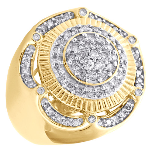 10K Yellow Gold Round Diamond Tier Fluted Band 25mm Statement Pinky Ring 1.50 CT